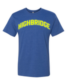 Blue Highbridge T-Shirt w/ Neon Reflective Lettering