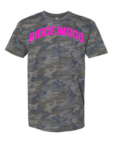 Camo Ridgewood T-shirt w/ Neon Pink Reflective Letters