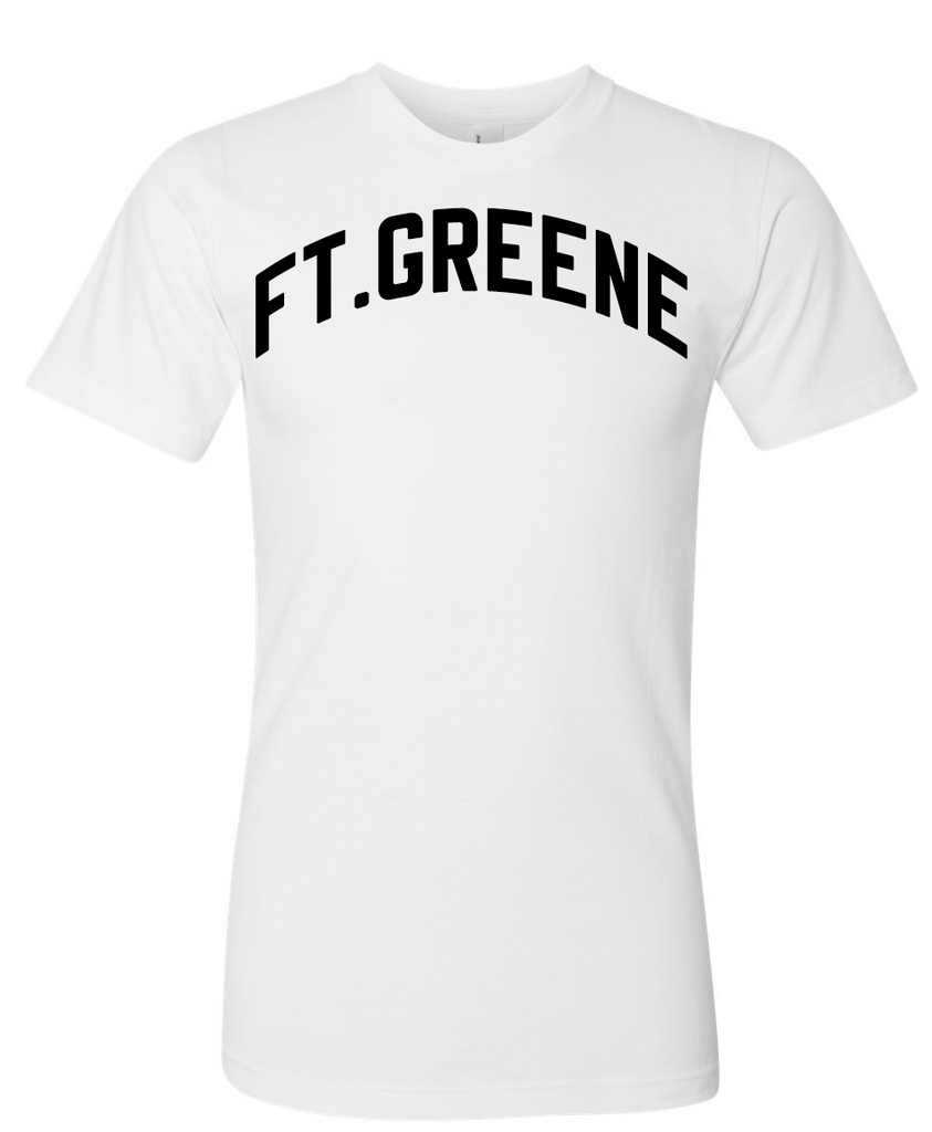 White Ft.Greene T-Shirt With Black Reflective Letters