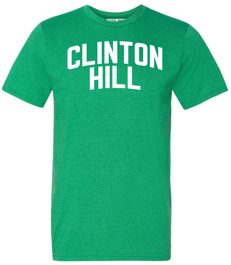 Green Clinton Hill T-shirt w/ White Reflective Letters