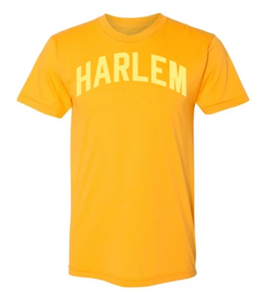 Gold Harlem T-Shirt w/ Yellow Reflective Letters