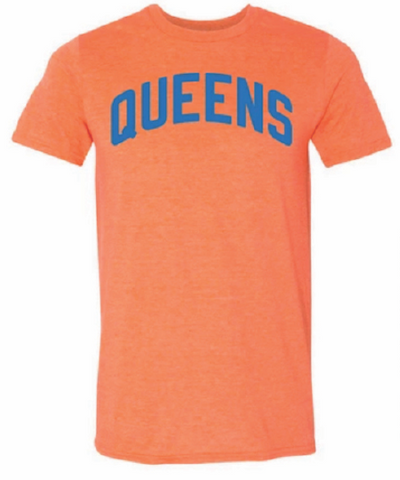 Orange Queens T-shirt w/ Blue Reflective Letters
