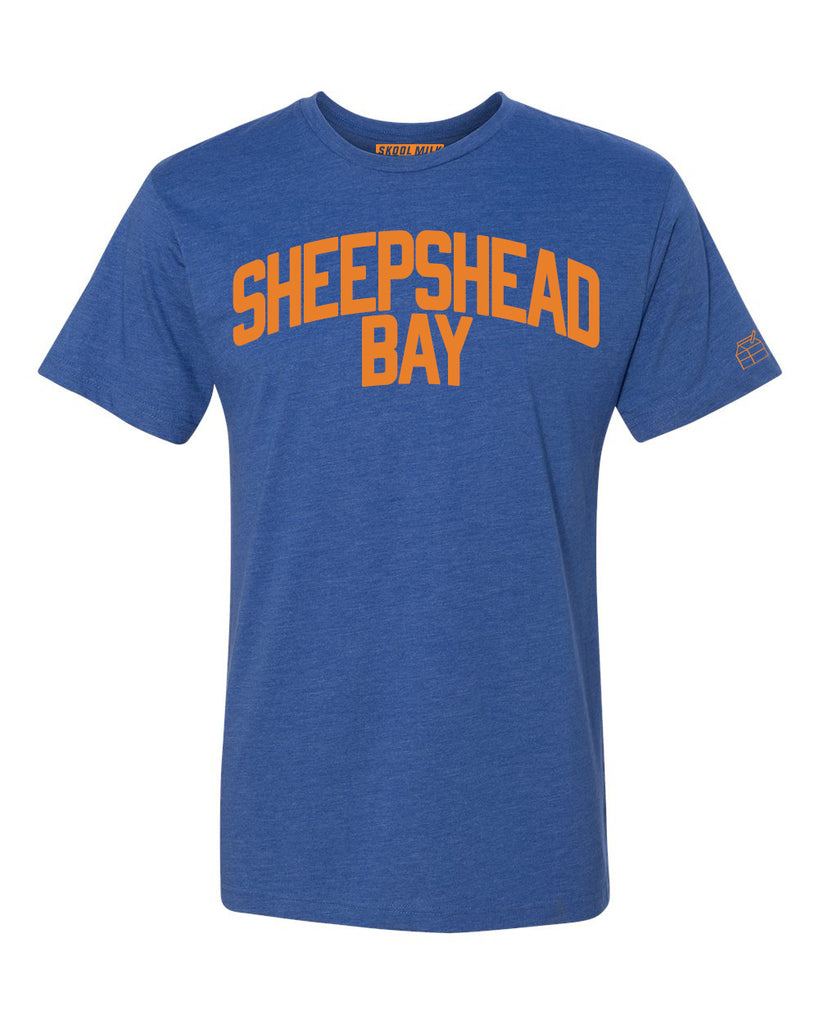 Blue Sheepshead Bay T-shirt with Knicks Orange Letters