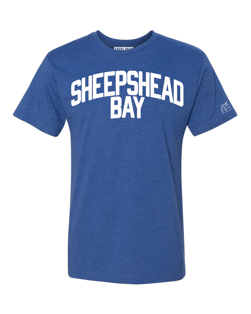 Blue Sheepshead Bay T-shirt with White Reflective Letters