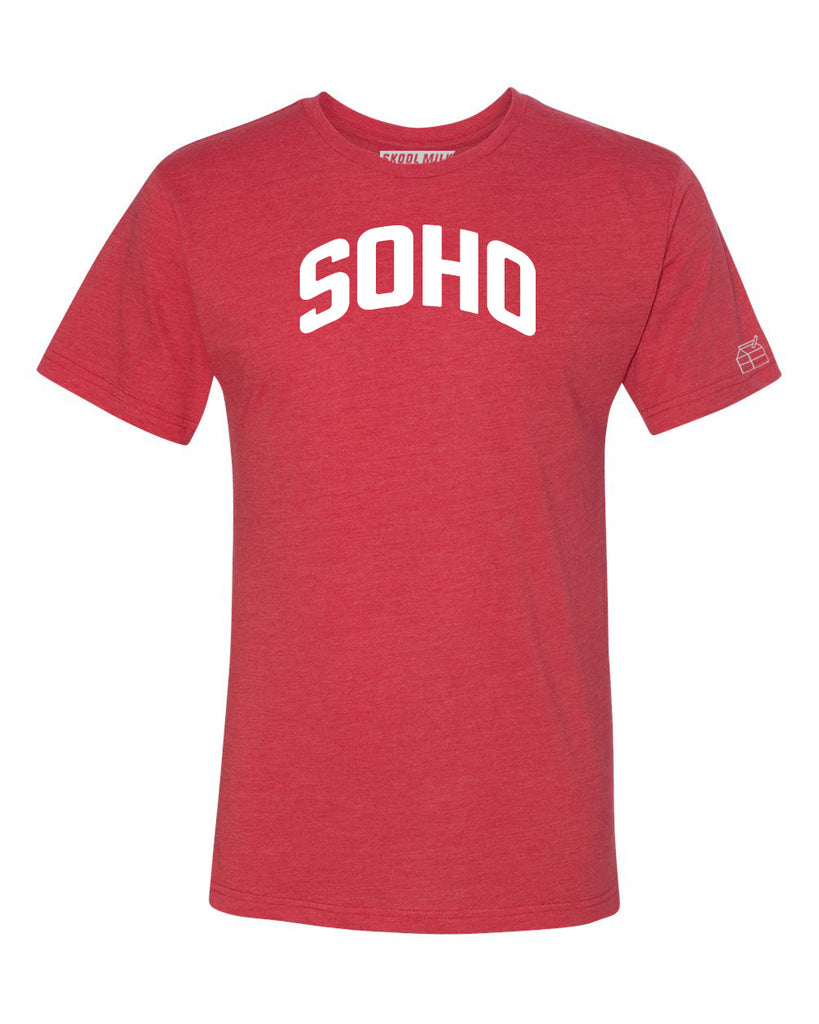 Red Soho T-shirt with White Reflective Letters