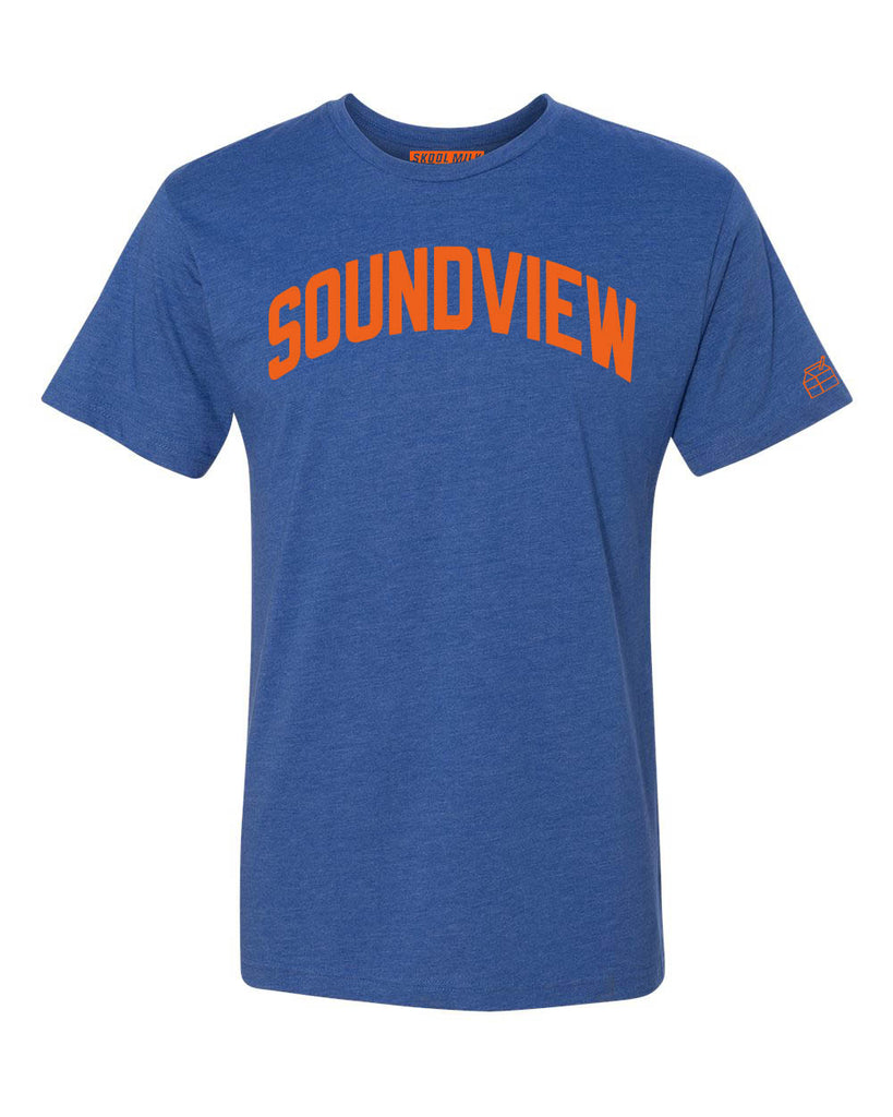 Blue Soundview T-shirt with Knicks Orange Letters
