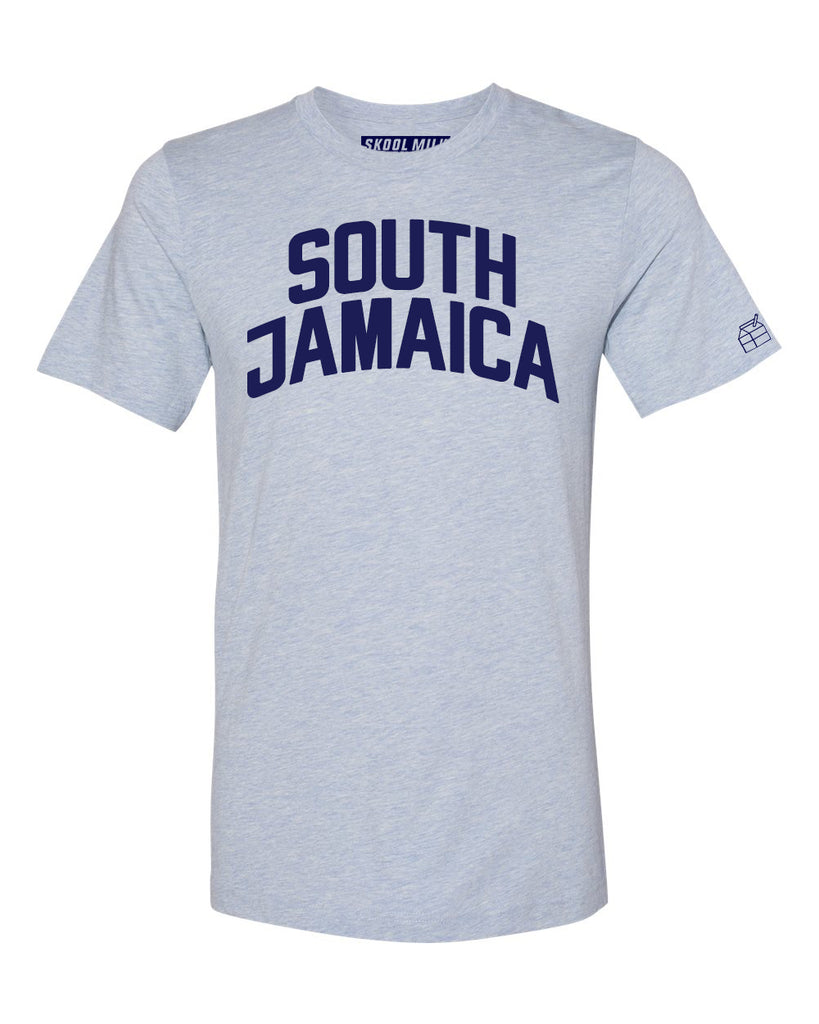 Sky Blue South Jamaica T-shirt with Blue Letters