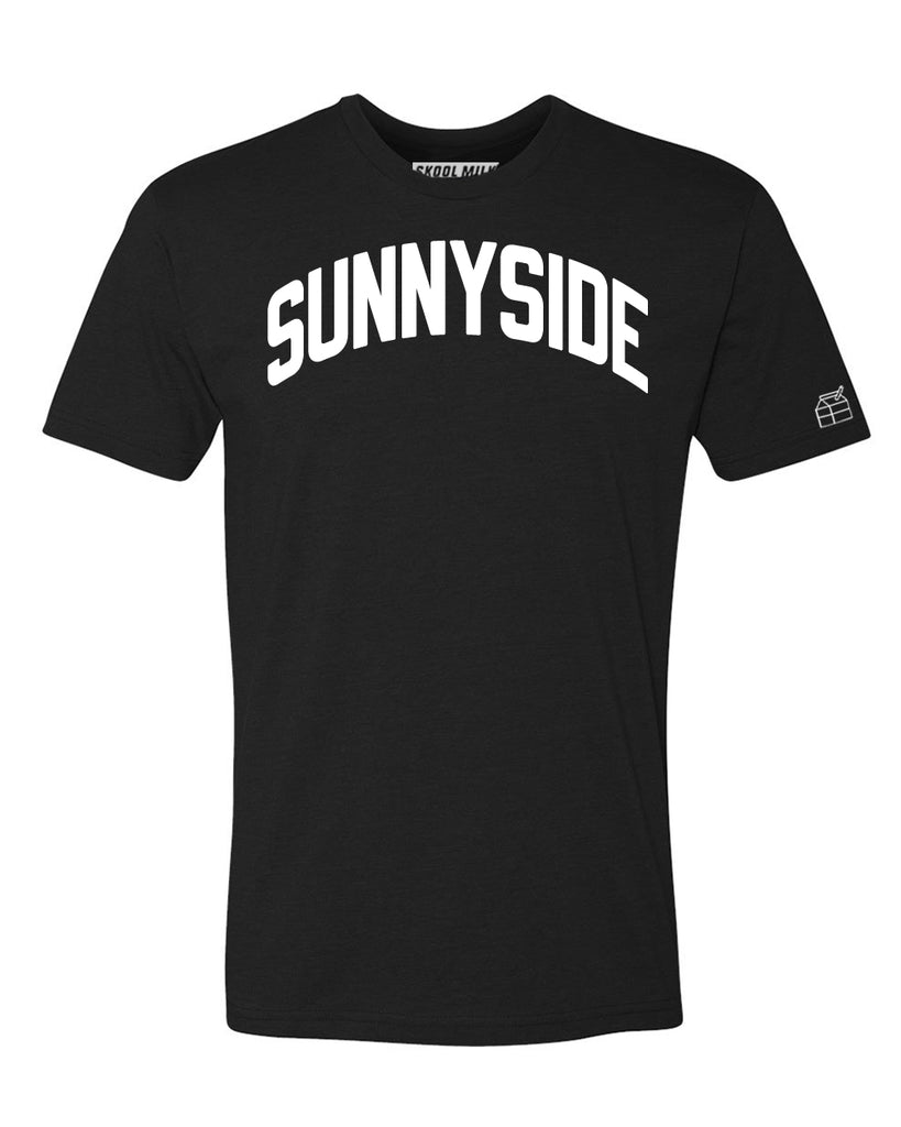 Black Sunnyside T-shirt with White Reflective Letters