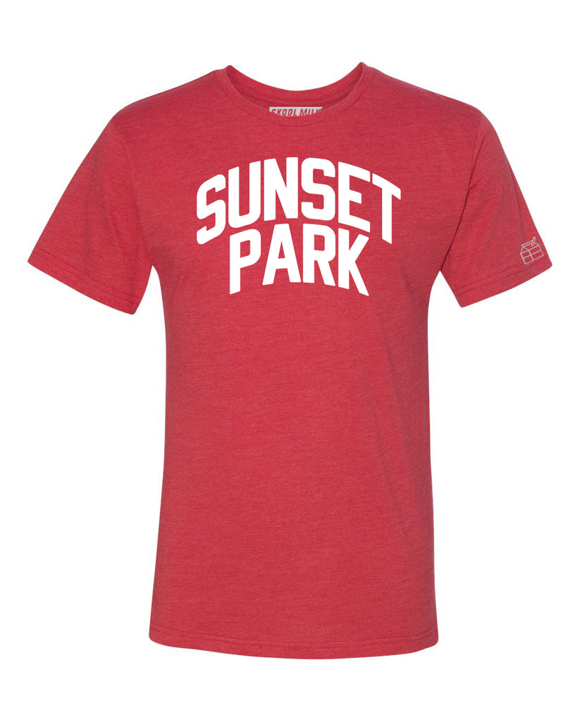 Red Sunset Park T-shirt with White Reflective Letters