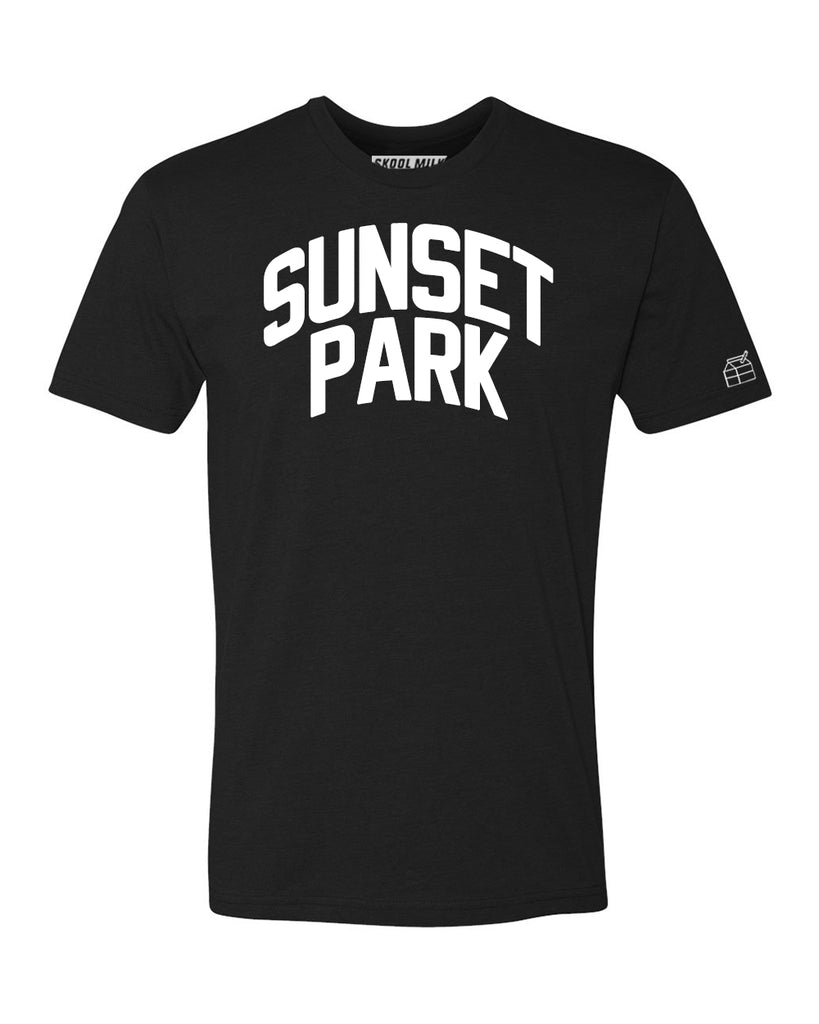 Black Sunset Park T-shirt with White Reflective Letters