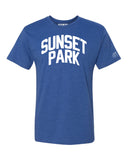 Blue Sunset Park T-shirt with White Reflective Letters