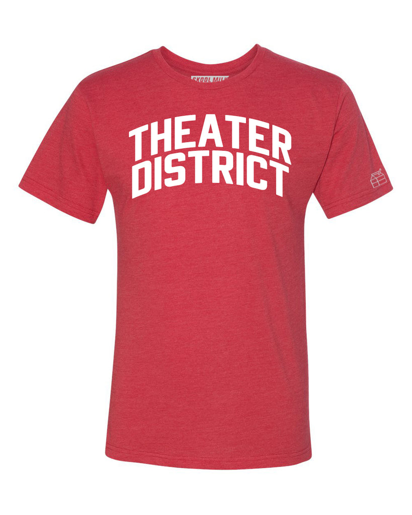 Red Theater District T-shirt with White Reflective Letters