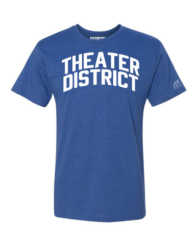 Blue Theater District  T-shirt with White Reflective Letters