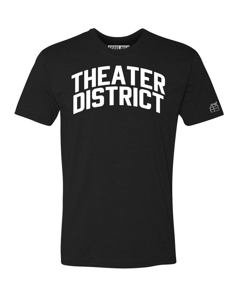 Black Theater District T-shirt with White Reflective Letters