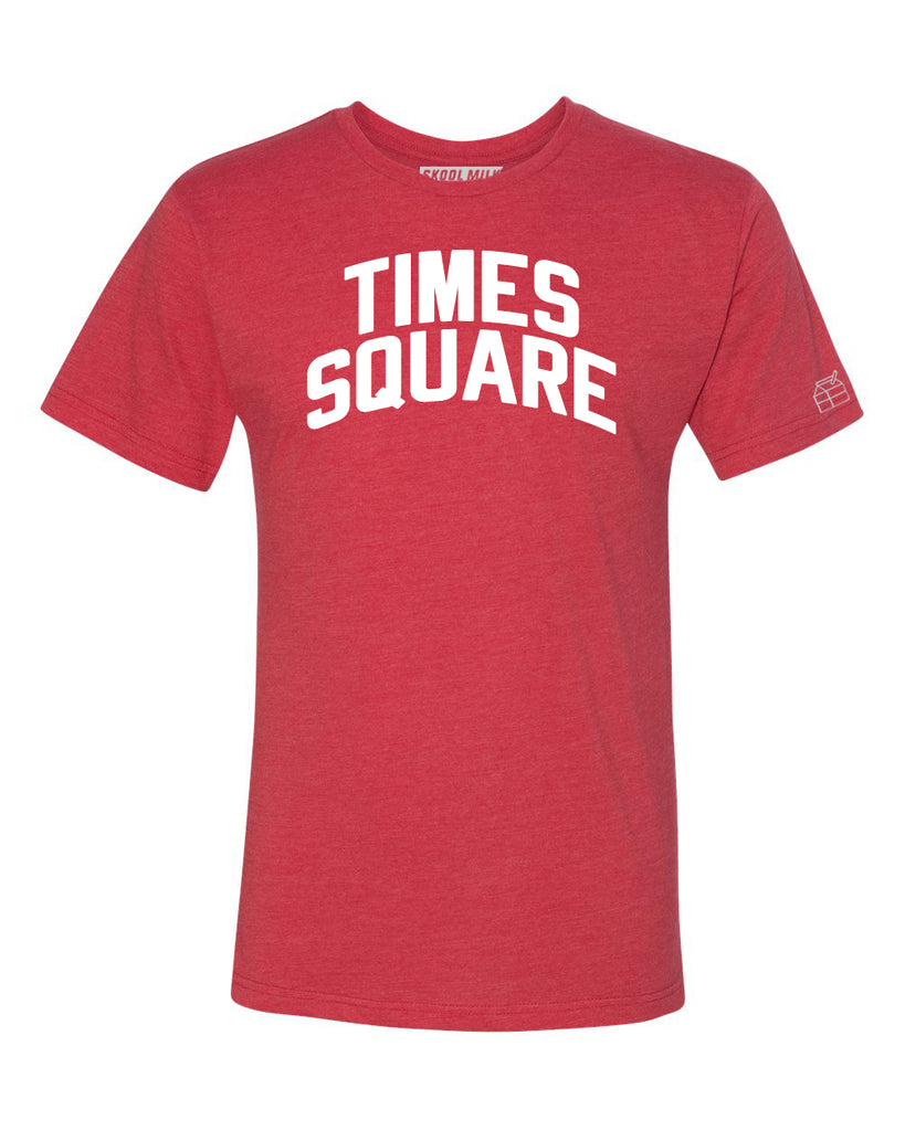 Red Times Square  T-shirt with White Reflective Letters