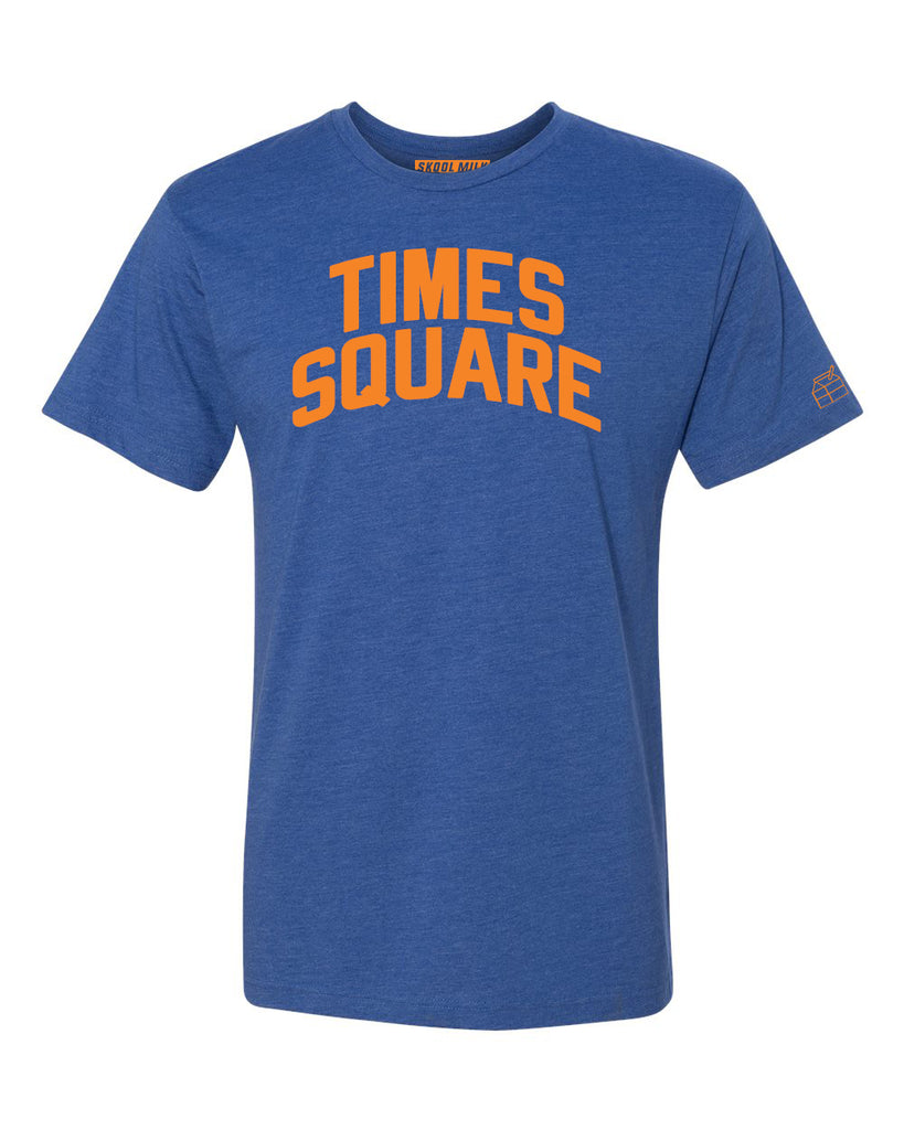 Blue Times Square T-shirt with Knicks Orange Letters