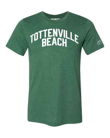 Green Tottenville Beach T-shirt with White Reflective Letters