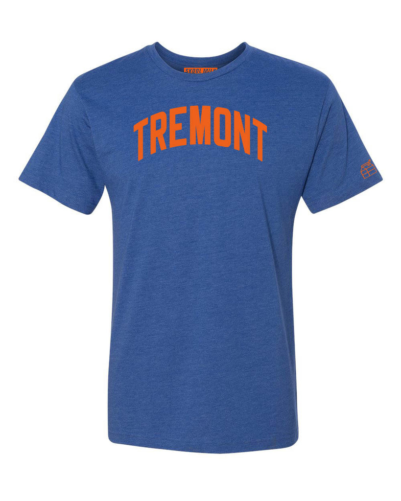 Blue Tremont T-shirt with Knicks Orange Letters