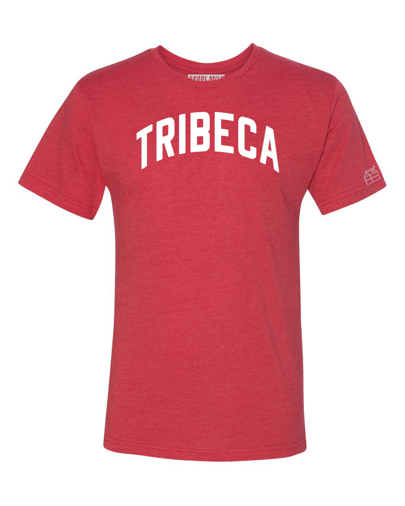 Red Tribeca T-shirt with White Reflective Letters