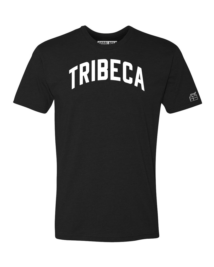 Black Tribeca T-shirt with White Reflective Letters