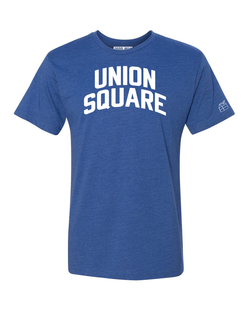 Blue Union Square T-shirt with White Reflective Letters
