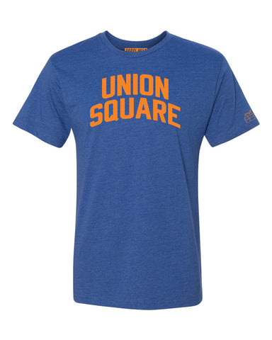 Blue Union Square T-shirt with Knicks Orange Letters