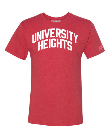 Red University Heights T-shirt with White Reflective Letters