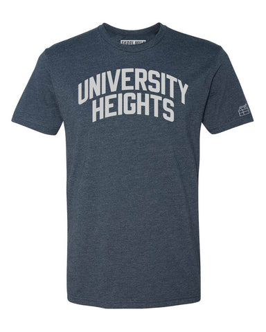 Navy Blue University Heights T-Shirt with Silver Letters