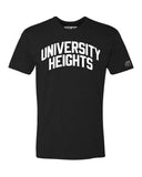Black University Heights T-shirt with White Reflective Letters