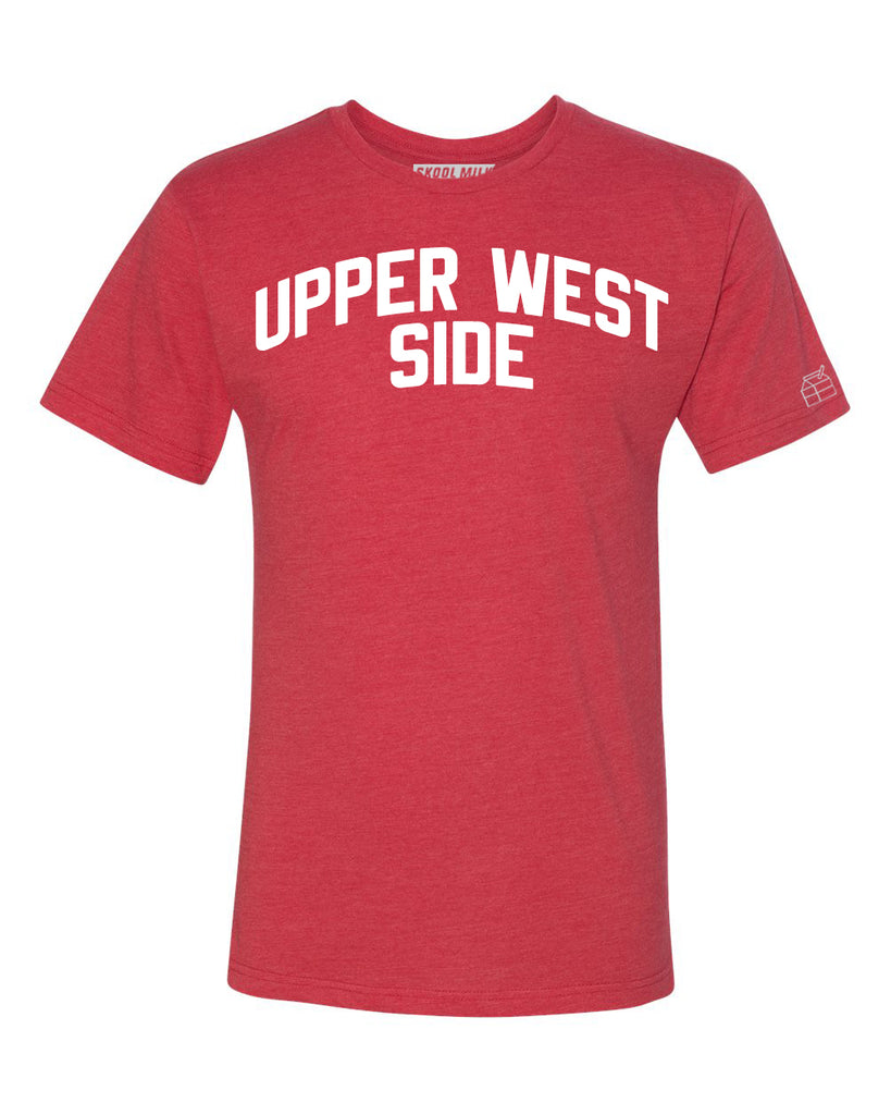 Red Upper West Side T-shirt with White Reflective Letters