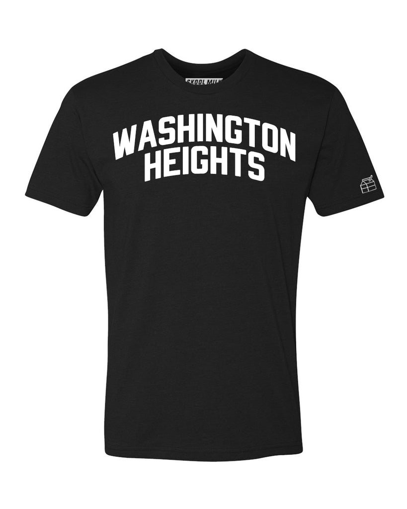 Black Washington Heights T-shirt with White Reflective Letters