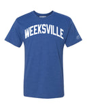 Blue Weeksville T-shirt with White Reflective Letters