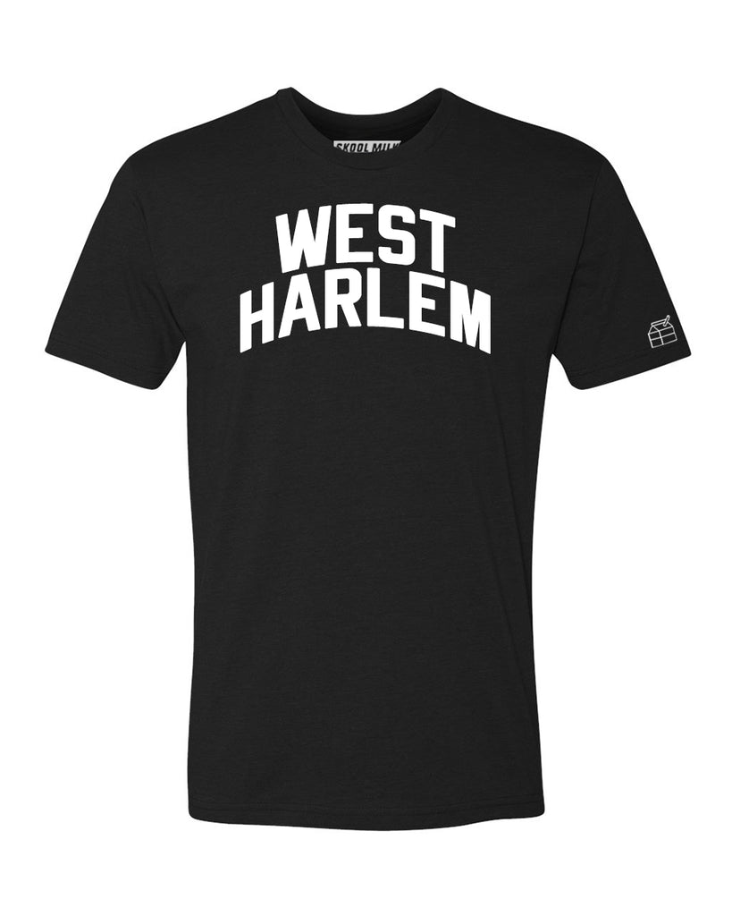 Black West Harlem T-shirt with White Reflective Letters