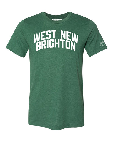 Green West New Brighton T-shirt with White Reflective Letters