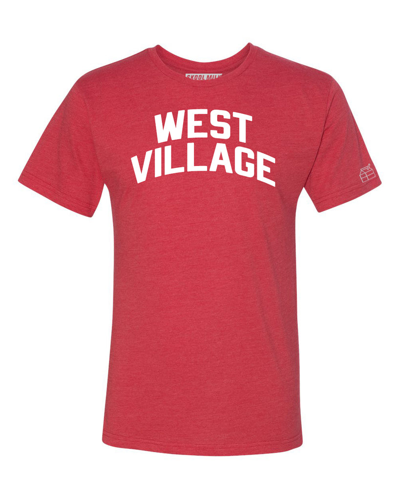 Red West Village T-shirt with White Reflective Letters