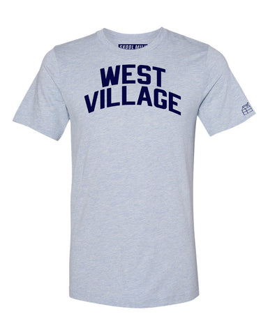 Sky Blue West Village T-shirt with Blue Letters