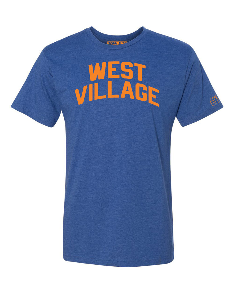 Blue West Village T-shirt with Knicks Orange Letters