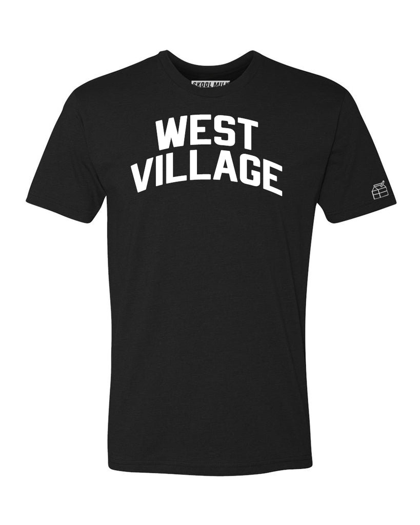 Black West Village T-shirt with White Reflective Letters