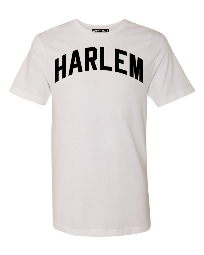 White Harlem T-shirt with Black Reflective Letters #SaltAndPepper