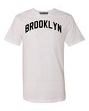 White Brooklyn T-shirt with Black Reflective Letters #SaltAndPepper