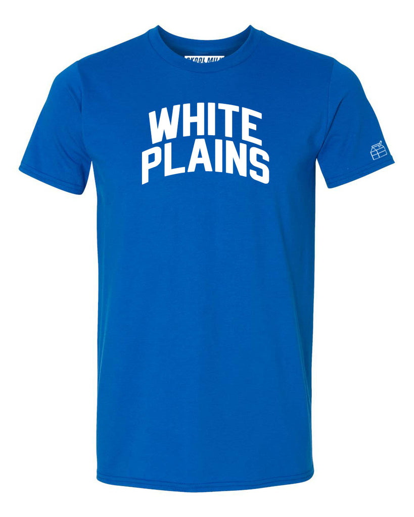 Blue White Plains T-shirt with White Reflective Letters