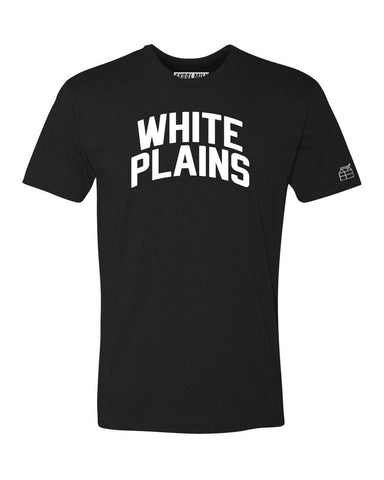 Black White Plains T-shirt with White Reflective Letters