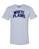 Sky Blue White Plains Bronx T-Shirt with Blue Letters