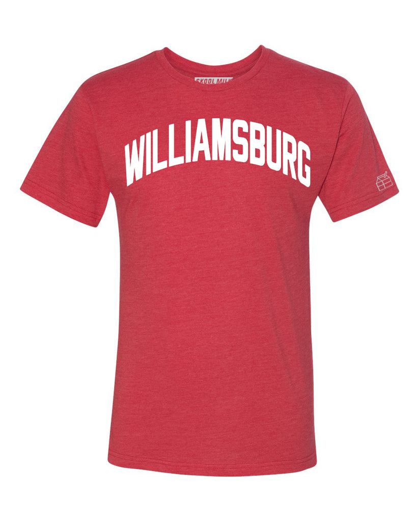 Red Williamsburg T-shirt with White Reflective Letters