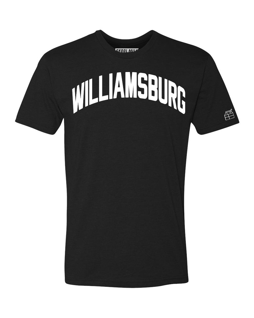 Black Williamsburg T-shirt with White Reflective Letters