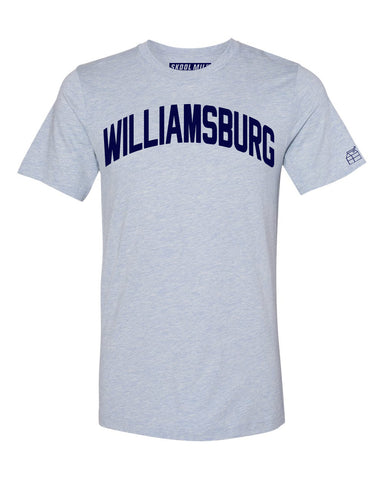 Sky Blue Williamsburg T-shirt with Blue Letters