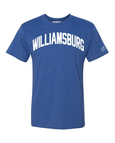 Blue Williamsburg T-shirt with White Reflective Letters