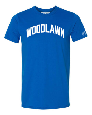 Blue Woodlawn T-shirt with White Reflective Letters