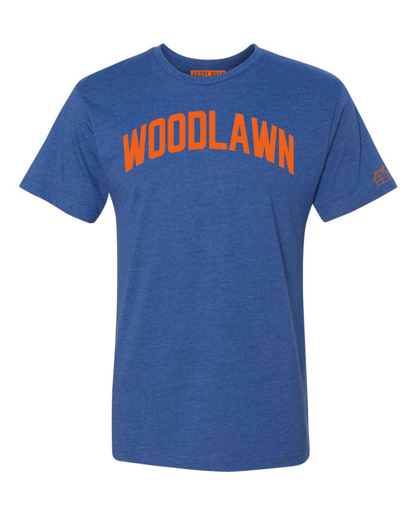 Blue Woodlawn T-shirt with Knicks Orange Letters