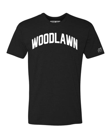 Black Woodlawn Plains T-shirt with White Reflective Letters
